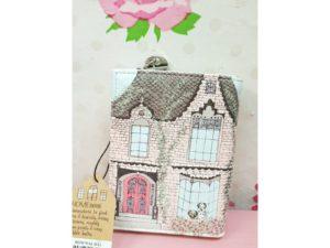 Cartera DISASTER Casa Tudor tejado rosa